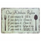 OUR KITCHEN RULES Shabby Chic Metal Signs Bar Pub Restaurant Home Decor ART Wall