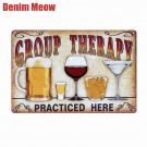 Beer Retro Metal Tin Sign Plaque Vintage GROUP THERAPY Painting Bar Pub Cafe Man