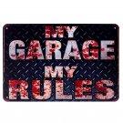 HD My Garage My Rules Vintage Metal Tin Signs Motorcycle Bar Pub Club Wall Stick