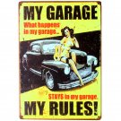 My Garage My Rules Wall Painting Metal Tin Sign Pub Club Gallery Poster Tips Vin