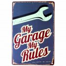 My Garage Rules Tin Sign Wall Decor Metal Art Poster Craft Pub Home Decoration W