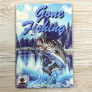 Gone Fishing Our Way of Life Vintage Metal Tin Sign Bar Pub Home Wall Decor Pain