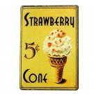 Strawberry Ice Cream Metal Vintage Tin Signs Retro Painting Home Decor Plate Caf