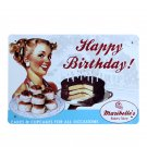 Happy Birthday Cake Sexy Lady Metal Painting Bar Cafe Bakery Decor Vintage Home