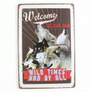 Welcome To Our Wild World Wolves Vintage Metal Tin Sign 20x30cm Wall Decor Plaqu