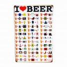 I LOVE BEER Vintage Beer MENU Metal Tin Signs Retro Art Tin Plague for Bar Resta