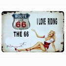 Motorcycle Route 66 Retro Metal Tin Signs Home Garage Vintage Decorative Metal P