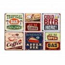 Beer Food Coffee Apple Pie Combination Decorative Plates Retro Metal Plates Bar