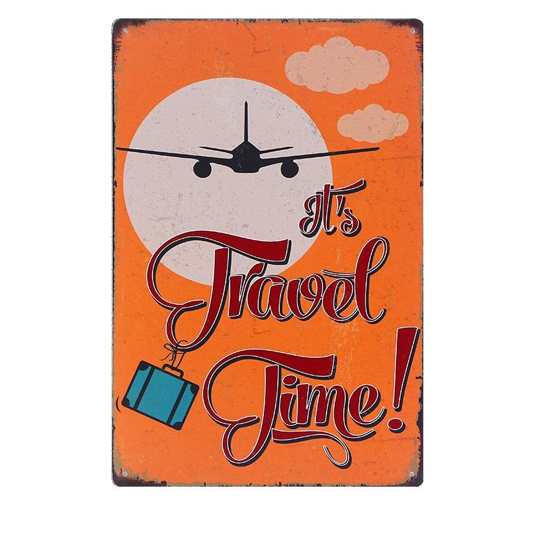 """""""""""It""""""""s Travel Time"""""""" Vintage Metal Art Poster Plaque Home Decor Iron Plate Wall St"""