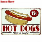 NEW HOT DOGS Plaque Vintage Metal Plates Bar Pub Cafe Home Decor Wall Stickers A