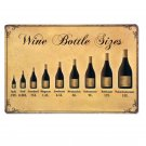 Wine Bottle Sizes Metal Tin Signs Vintage Home Decor Shabby Chic Wall Poster Iro