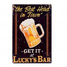 BEER Vintage Luckys Bar Metal Tin Sign Decor Home Party Wall Plaque ART Painting