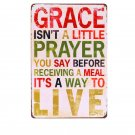 """""Grace Isn""""t A Little Prayer"""" Vintage Metal Art Sticker Poster Home Decor Iron P"