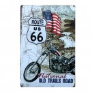 New Route US 66 Car Metal Signs Garage Wall Decor Poster Iron Tin Sign Plaque Vi