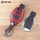 NEW Leather Car Key Shell 3 Buttons For Mercedes Key For Benz S SL ML SLK CLK