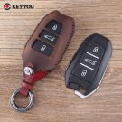 NEW Genuine Leather Car Key Case Cover holder For Peugeot 508 301 2008 3008 4