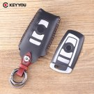 NEW 4 Buttons Smart Remote Leather Keyless Shell Car Key Cover For BMW F CAS4