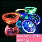 LED light Chinese Yoyo Triple Bearing Diabolo String Juggling Metal Stick Toy