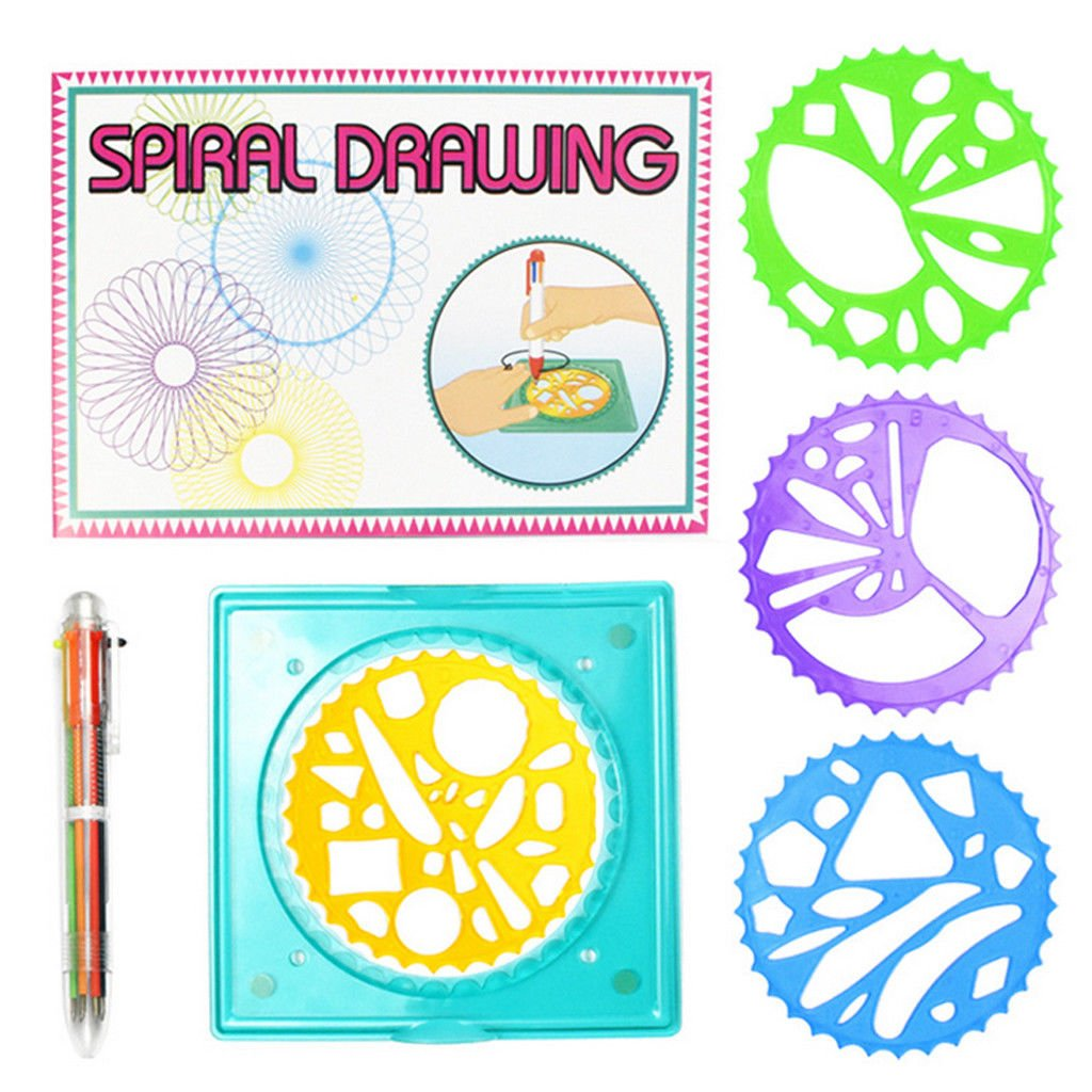 Spirograph Spiral Drawing Pen Book Tool Set Toy Stationery Gear Wheel Rulers