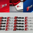 S3 S4 S5 S6 S8 RS3 Badge Audi RS Sline Black Silver Logo Emblem Trunk Sticker 3D