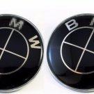 2x FITS FOR BMW 82mm Car Emblem Black Front Badge Logo 2 Pins Hood/Trunk