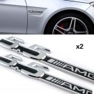 2 PCS 5.5 AMG Side Fender Chrome 3D Alloy Emblem Logo Badge Fit Mercedes Benz