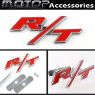 3D Metal Red R/T Racing Front Hood Grille Badge Emblem Car Decoration R/T Logo
