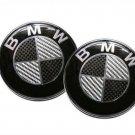 FIT FOR BMW 82mm/74mm Black/White Carbon Fiber Emblem Hood Trunk Badge Series