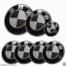 7pcs emblem SET Carbon Fiber Black/White Emblem Logo FIT For BMW² e60 e90 e46