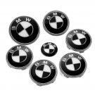 7pcs emblem SET BLACK/White Emblem Logo FIT For BMW² e60 e90 e46