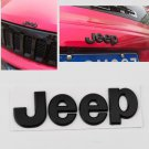 2PCS 3D Metal Jeep Cherokee Wrangler Matt Rear Badge Emblem Hood Logo Black