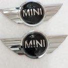 2X New Mini Cooper Chrome & Black Metal Front Hood/Rear Truck Emblem Badge Logo