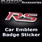 3D Metal Red RS Logo Racing Front Badge Emblem Sticker Decal Self Adhesive