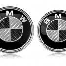2 pcs Carbon Emblem Badge Logo 82mm Hood 74mm Trunk BMW E36 E46 E60 E82 E90 F30