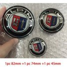 3pc 82mm/74mm/45mm Alpina Badge Hood Front Rear Trunk Logo Steering Wheel Emblem