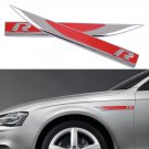 1Pair Red Universal Metal R Logo Knife Badge Emblem Sticker Car Side Wing Fender