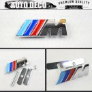 M Logo 3D Metal Racing Front Hood Grille Badge Emblem Decoration ///M
