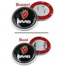 2x Black Saab Badge 9-3 9-5 Set Front Bonnet & Rear Boot Badges Logo 68m Emblem