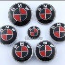 7pcs emblem SET Carbon Fiber Black / Red Emblem Logo FIT For BMW² e60 e90 e46