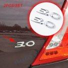 Pair Chrome Car Badge 3D Decal Sticker 3.0 Emblem Logo Metal Style Decorate Part