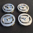 NEW 4 PC SET MAZDA GRAY CENTER WHEEL CAPS CHROME EMBLEM 56MM HUB CAP LOGO
