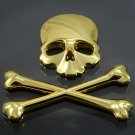 Gold 3D Crossbones Skull Metal Logo Emblem Badge Decal Tank Sticker Car Truck