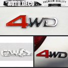Red 4WD Logo 3D Metal 4WD Racing Front Badge Emblem Sticker Decal Self Adhesive