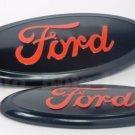 2 FORD F-150 2004-2014 BLACK RED OVAL FRONT GRILLE & TAILGATE 9 INCH LOGO EMBLEM
