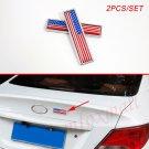 Chrome Vehicle 3D Badge USA US America Flag Emblem Logo Sticker Decal Decorate