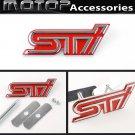 3D Metal Red STI Racing Front Hood Grille Badge Emblem Car Decoration STI Logo