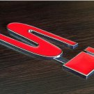 "2X Metal Badge Front Grille + Rear Combo Car Emblem """"SI """"Logo For Honda Civic"