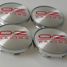 SET OF 4 OZ RACING ALLOY WHEEL BADGES CENTER HUB CAPS 60mm RED EMBLEM LOGO O.Z