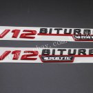 "Red Black """" V12 BITURBO 4MATIC """" Letters Badge Emblem Sticker 2pcs for Benz AMG"