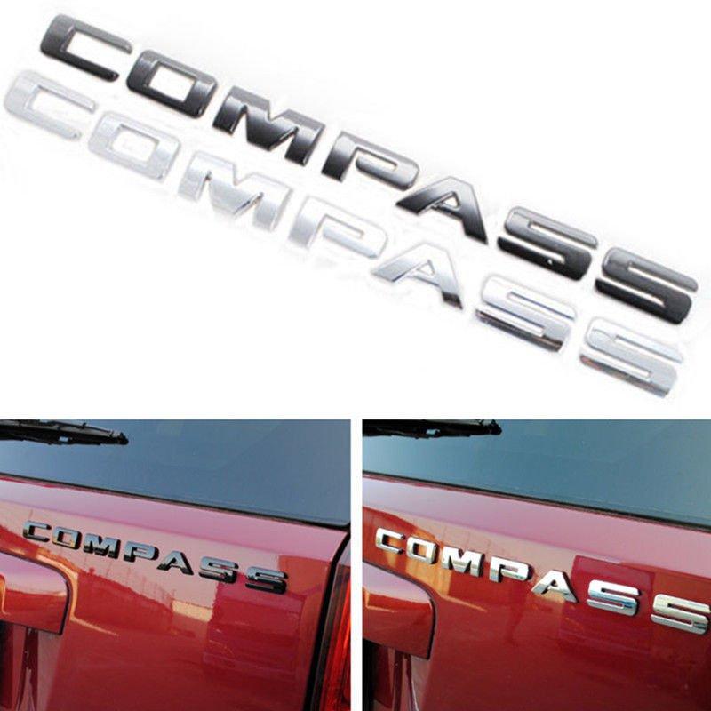 Chrome Black ABS Letters Words Emblem Badge Decal Sticker for Jeep Compass 1PCS